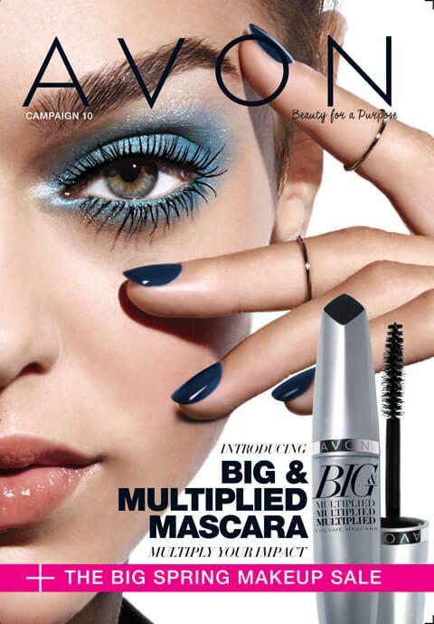 Avon Campaign 10 brochure featuring Avon's Big & Multiplied Volume Mascara! #makeup