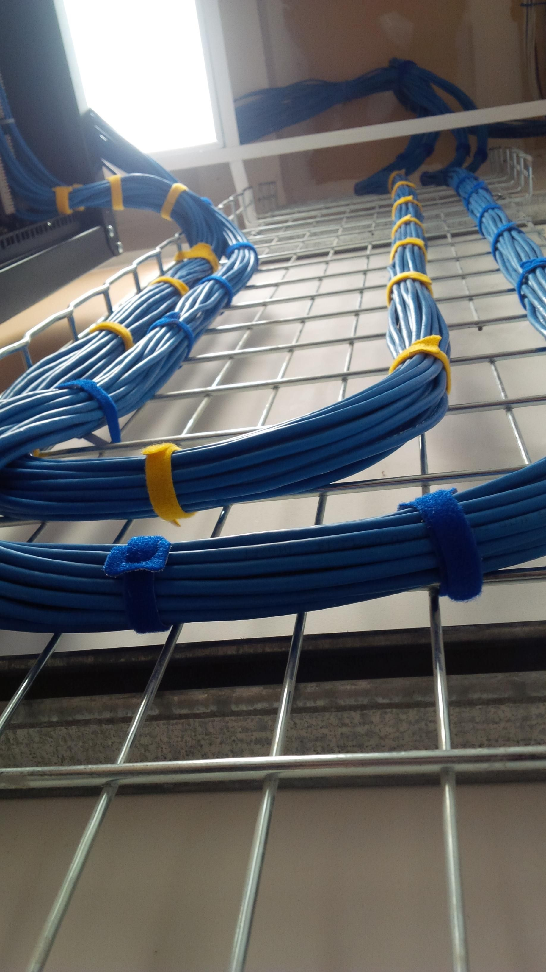 running ethernet cables from the ceiling into the server cabinet  [ 1836 x 3264 Pixel ]