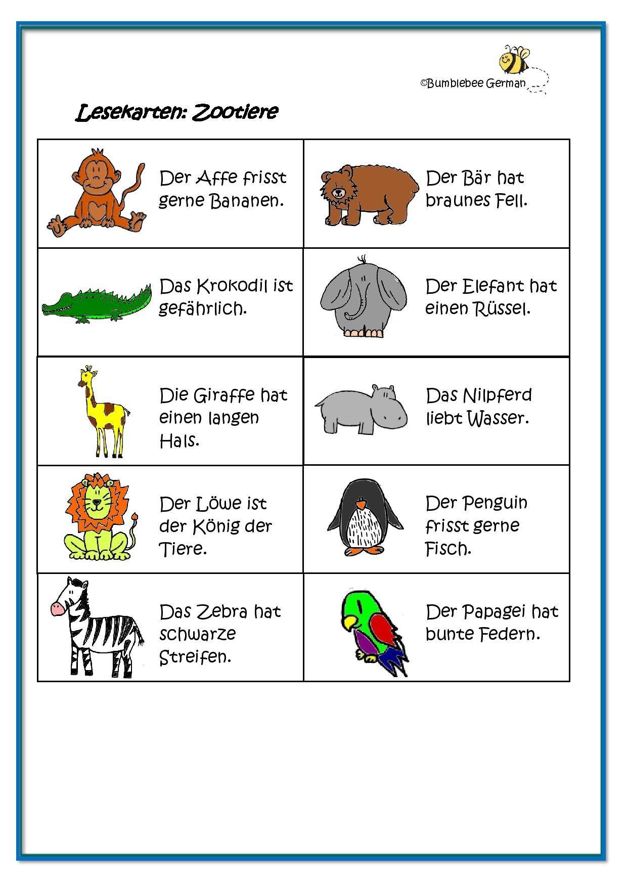 worksheet german for kids zoo animals zootiere lesekarten reading cards german for kids. Black Bedroom Furniture Sets. Home Design Ideas