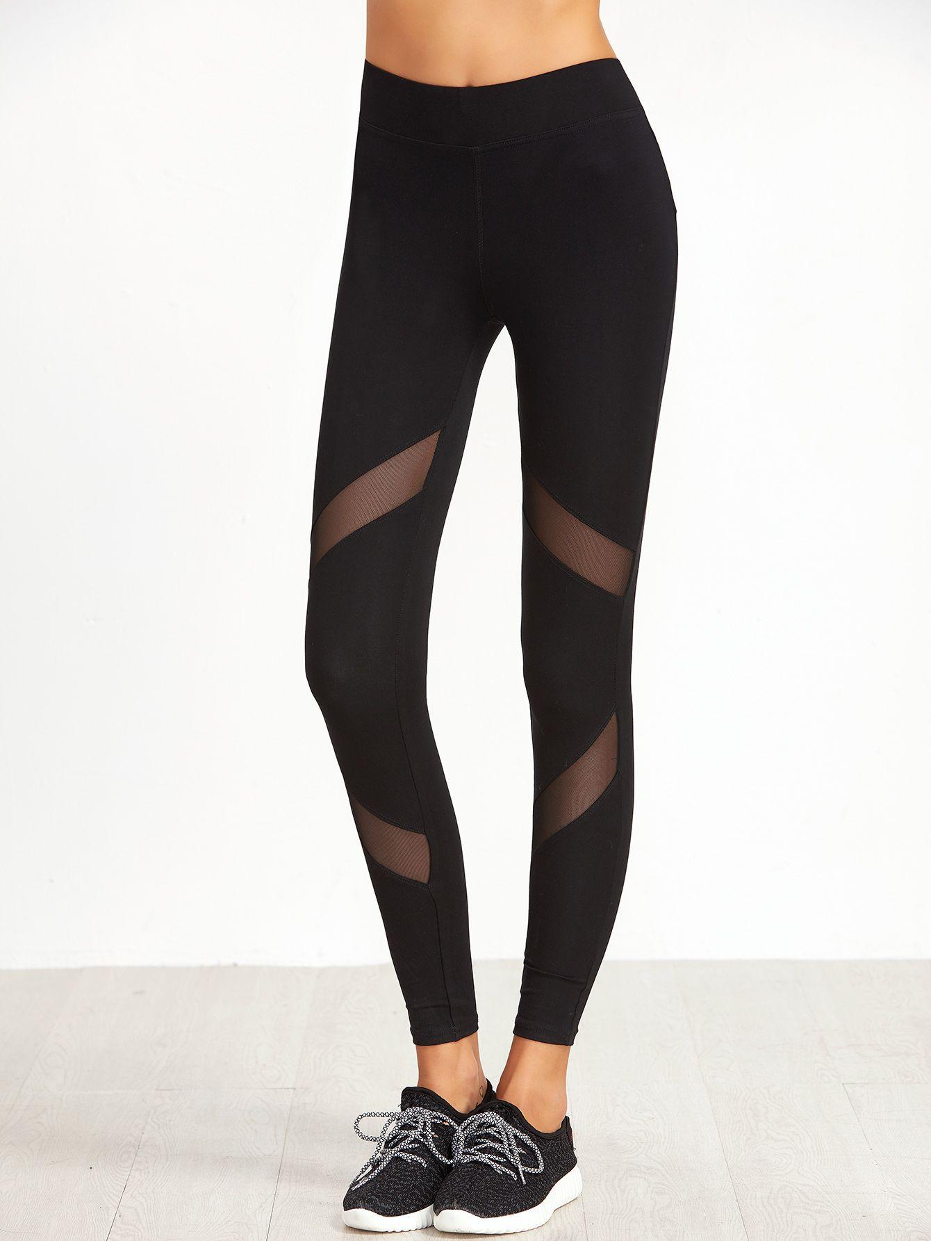 febd076b53ac9 Shop Black Mesh Insert Skinny Leggings online. SheIn offers Black Mesh  Insert Skinny Leggings &