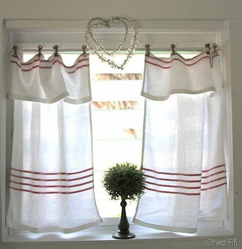tea towel curtains coastal cottage pinterest gardinen vorh nge gardinen und fensterdeko. Black Bedroom Furniture Sets. Home Design Ideas