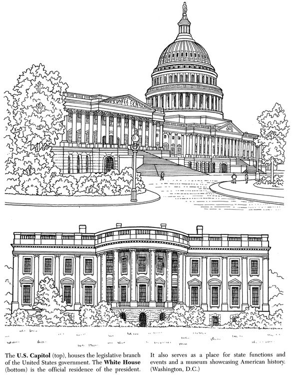Welcome To Dover Publications House Colouring Pages White House Drawing Coloring Pages