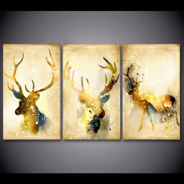 Hd Printed 3 Piece Deer Elk Animal Yellow Wall Art Canvas Painting Wall Pictures For Living Room Posters Free Wall Art Canvas Painting Painting Yellow Wall Art