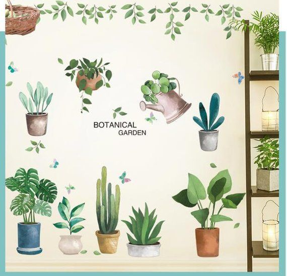 Watercolor Plants Wall Decal Green Plants Garden Wall Stickers