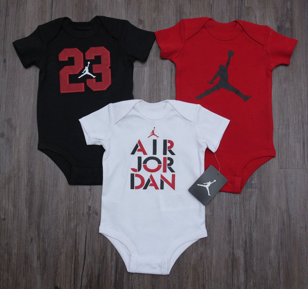 Air Jordan Baby Boy 3 Piece Bodysuit Set ~ White, Red & Black ~Jumpman ~ 23 ~ #Jordan #Jumpman #23 #BabyBoy