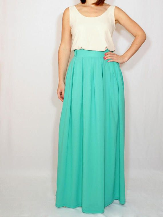 a5a9b4255720 Women maxi skirt Turquoise skirt Chiffon skirt long High waisted skirt with pockets  Bridesmaid skirt