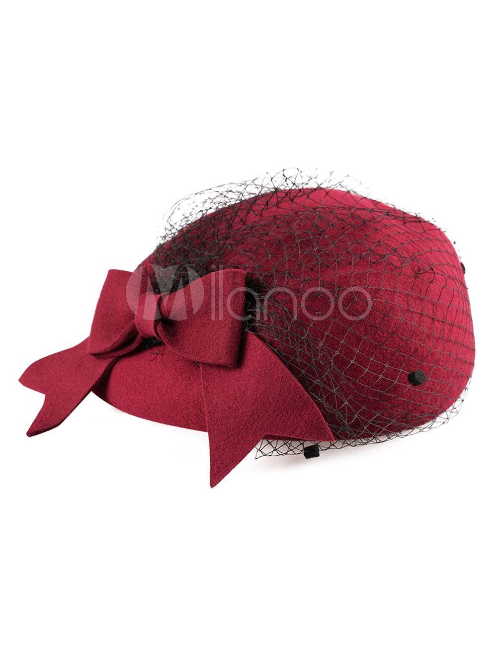 2f11f0b94 Vintage Hat Beret Women Wool Burgundy Winter Hat Retro Costume ...