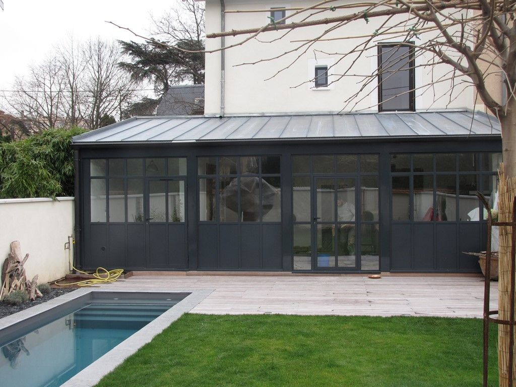 Toit zinc extension maison pinterest pente toiture for Maison moderne toiture zinc