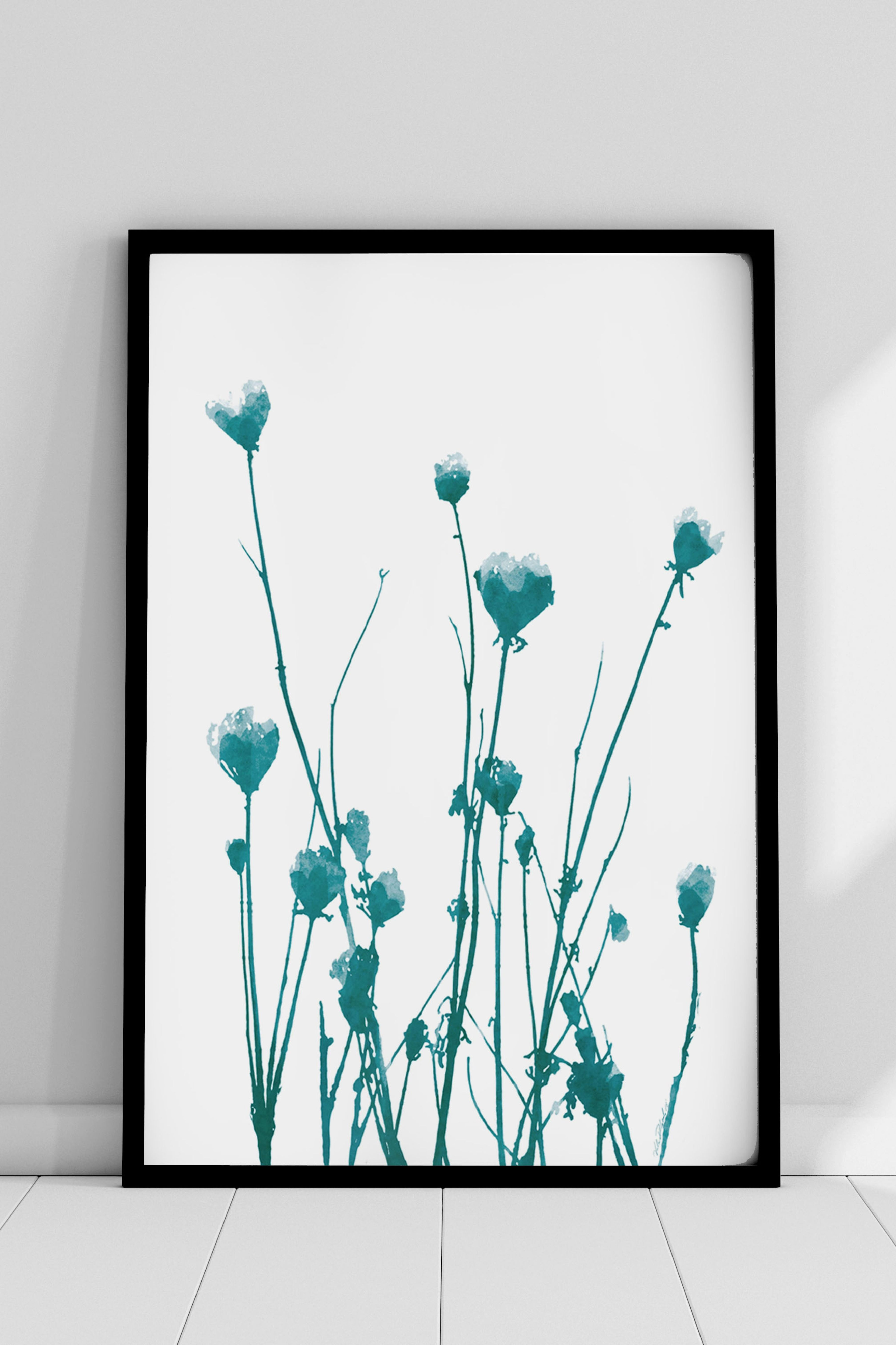 Turquoise Floral Wall Art Botanical Teal Flower Watercolor Etsy Etsy Wall Art Floral Wall Art Green Wall Art Print