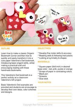 Photo of Valentine's Owl Corner Bookmark – STEAM Origami Projects (Fundraiser idea)