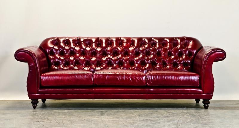 Red Leather Tufted Weddington Couch Tufted Leather Sofa