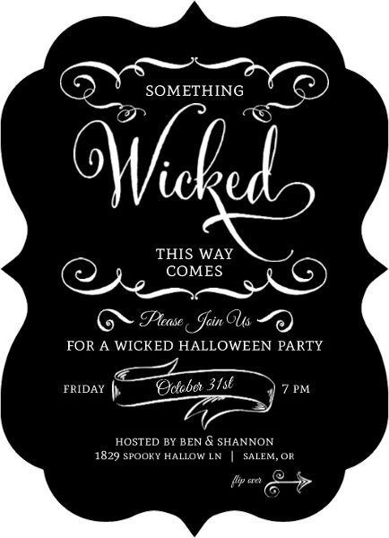 Black and White Wicked Halloween Party Invitation | Showers of ...