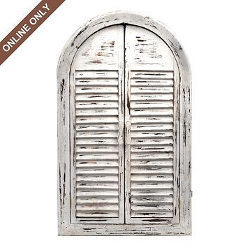 Distressed White Shutter Wall Mirror And Other Furniture Decor Products