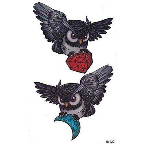 King Horse Owl And Diamond Temporary Tattoo Sticker