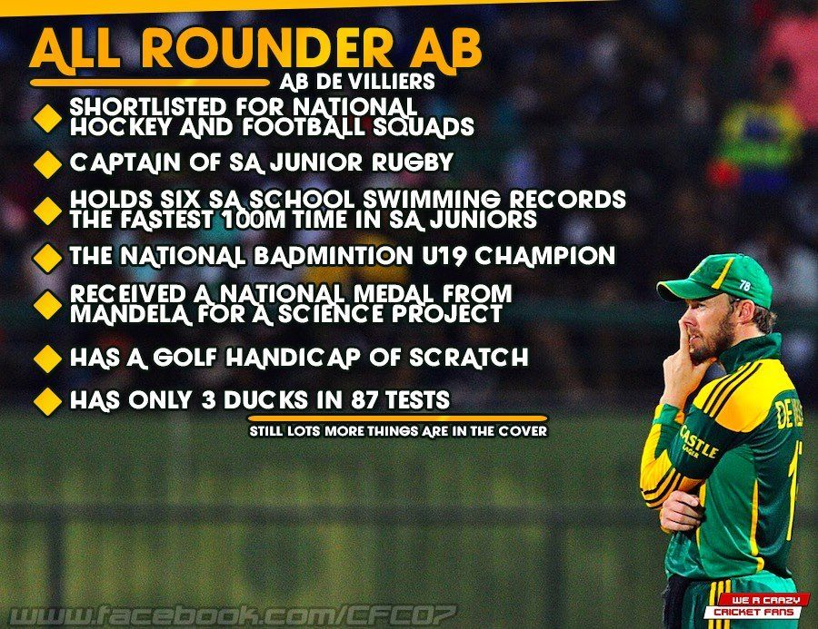 AB De Villiers  One heck of a sportsman, excelled in every