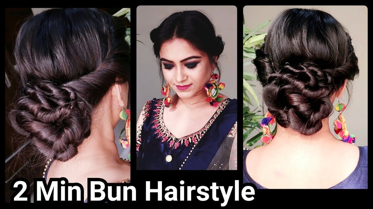 2 Min Indian Bun Hairstyle For Diwali Easy Hairstyles For Medium To Long Hair Party Hairstyle Yo Bun Hairstyles Indian Bun Hairstyles Traditional Hairstyle