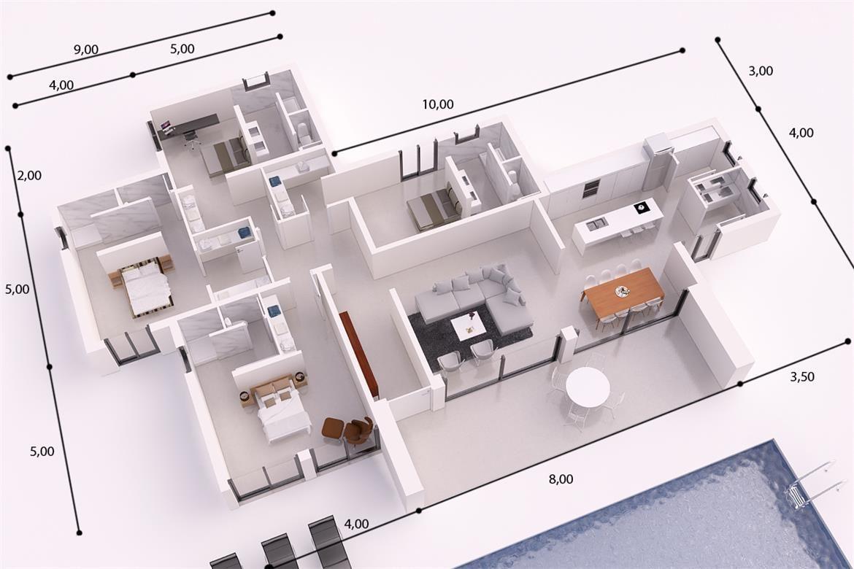 Ibiza Donacasa 232 M2 Hormigã N Celular Con Trasdosado Tejado Plano Villa Plan Home Construction Floor Plans
