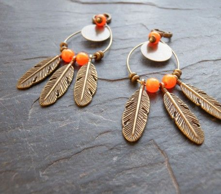 Boucles d'oreilles Miwok orange