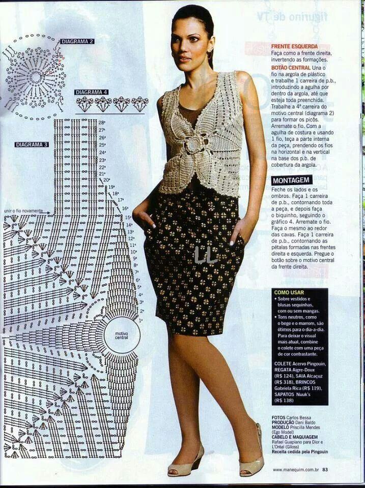 blusa de ganchillo/crochet con gráfico