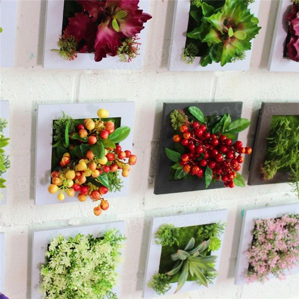 3D Artificial Plant Simulation Flower Frame Wall Decor