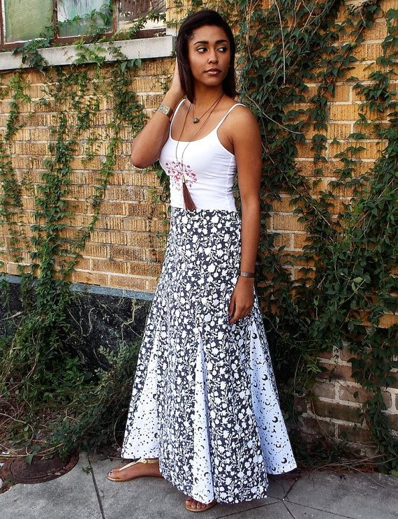 ffe30b5fa819ca Boho Style Black and White Floral Cotton Maxi Skirt with Gussets: Fair  Trade, Hand Block Printed & E