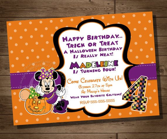 Minnie Mouse Halloween Invitation
