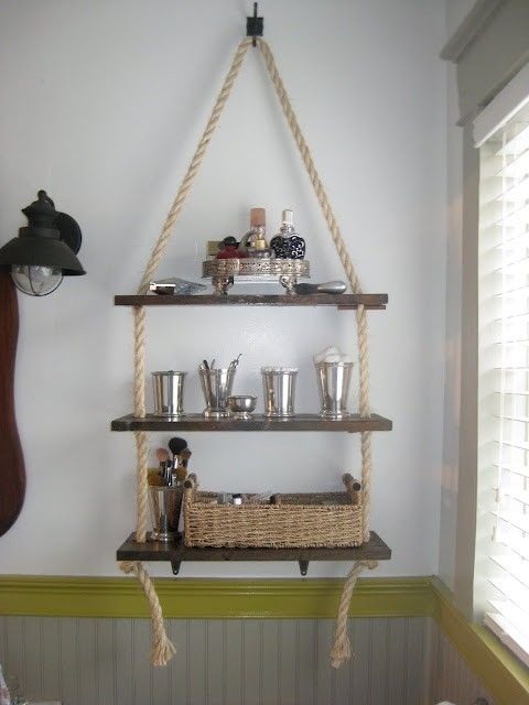Hanging Rope Shelf  Habitat for Humanity Cary $5 shelf enough for 3 shelves.  I have sisal rope 1/4 but 3/8 Lowes $8 dollars.  Have silver hooks and rustic brown curtain rod not using in garage.  $14