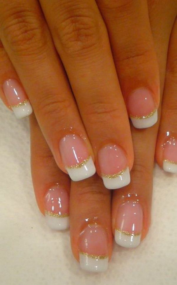 French Tips With Gold Glitter