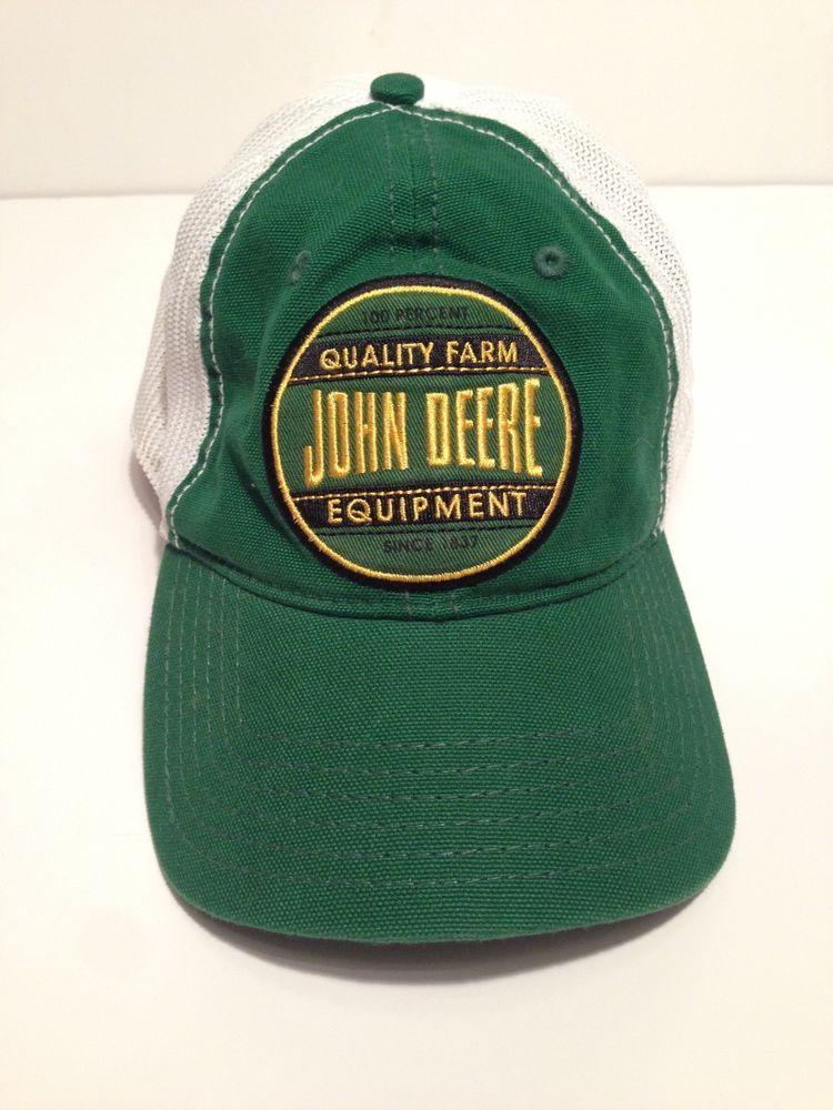 8619c0689 John Deere Cap Green White Mesh Vintage Style One Size Farm Baseball ...