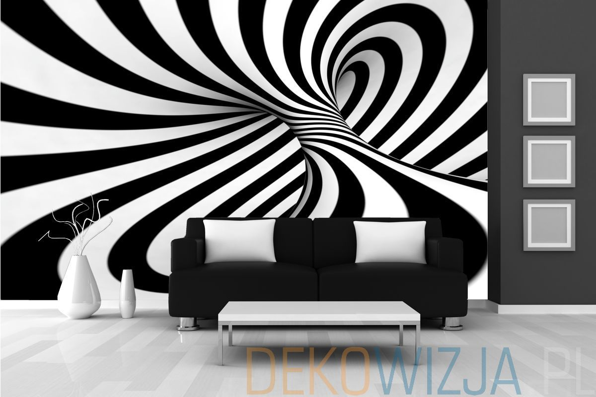 Fototapeta Abstrakcyjna Spirala 3d Black And White Stripes