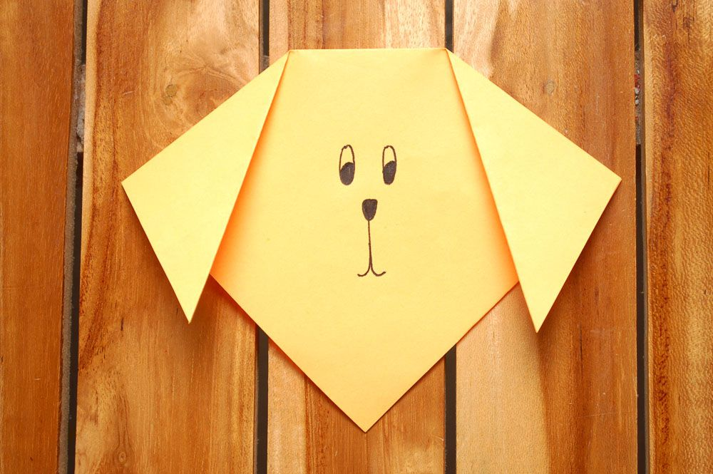 Easy Origami Puppy Face Instructions | 665x1000
