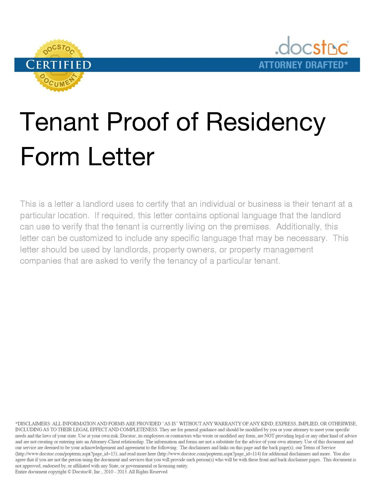 19++ Proof of residency letter from landlord ideas
