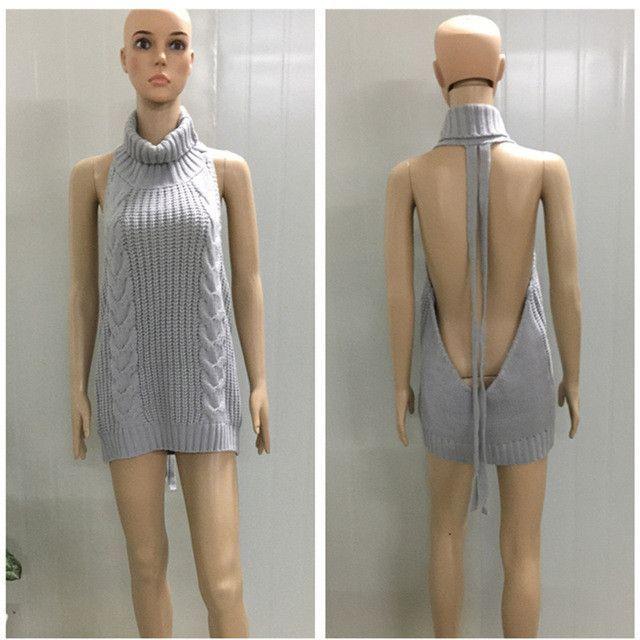 10e0a1de8ed 2017 Hot Japan Sexy Tie Open Backless Long Virgin Killer Sweater Turtleneck  Sleeveless White Sweaters Gray Pullover Anime Vest