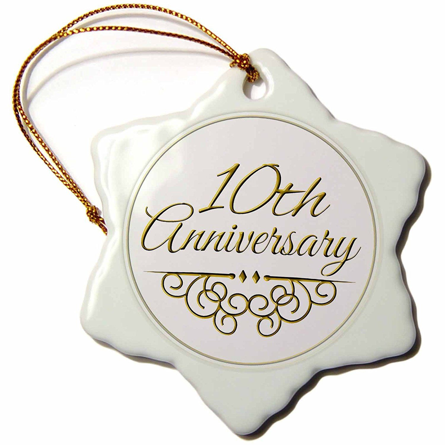 3dRose orn_154452_1 10th Anniversary Gift Gold Text for