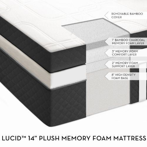 14 Lucid By Linenspa Cashmere Covered Plush Memory Foam Mattress