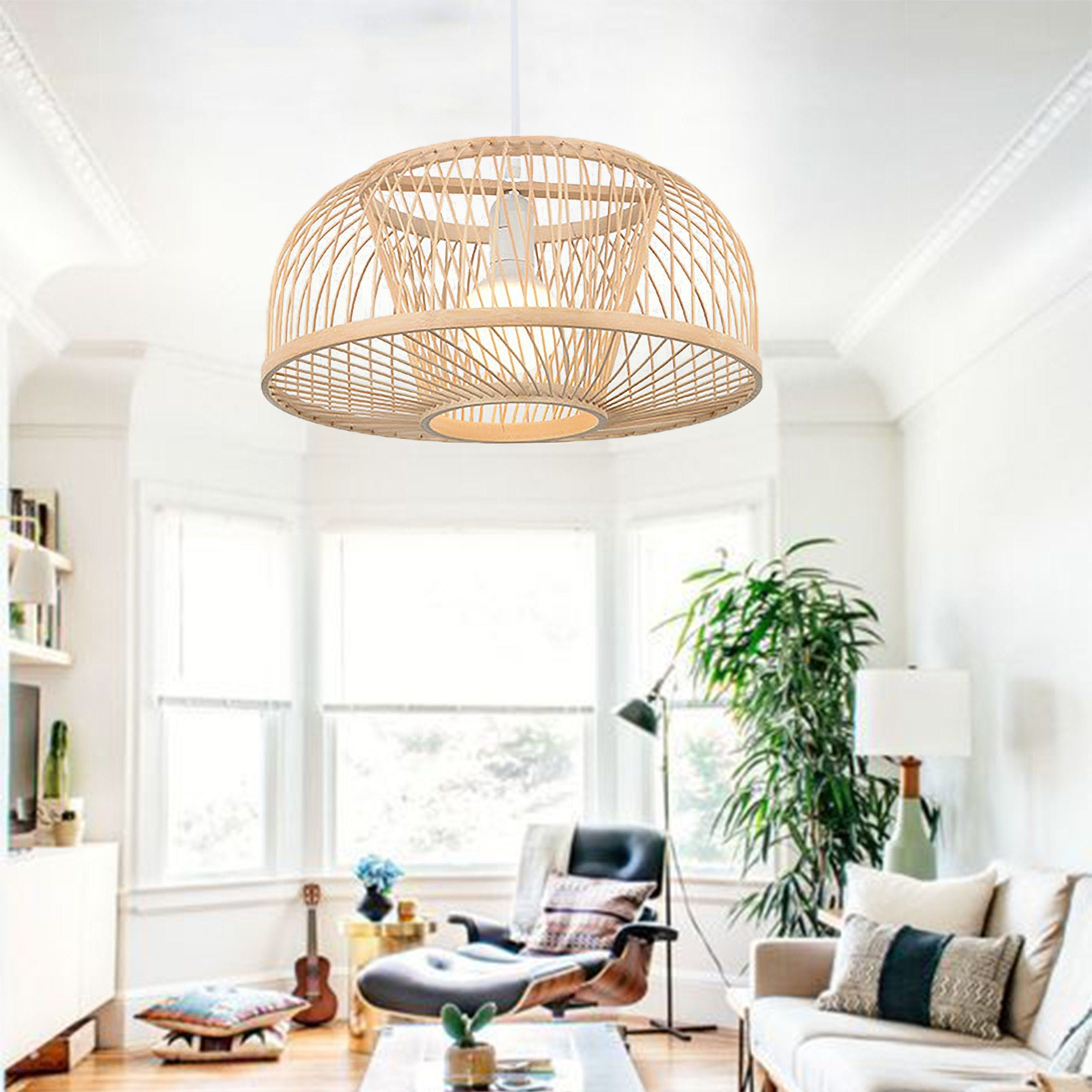 Walmhomie Rattan Lamp Shadevintage Ceiling Lamprattan Light Etsy In 2020 Rattan Light Fixture Rattan Lamp Ceiling Lamp