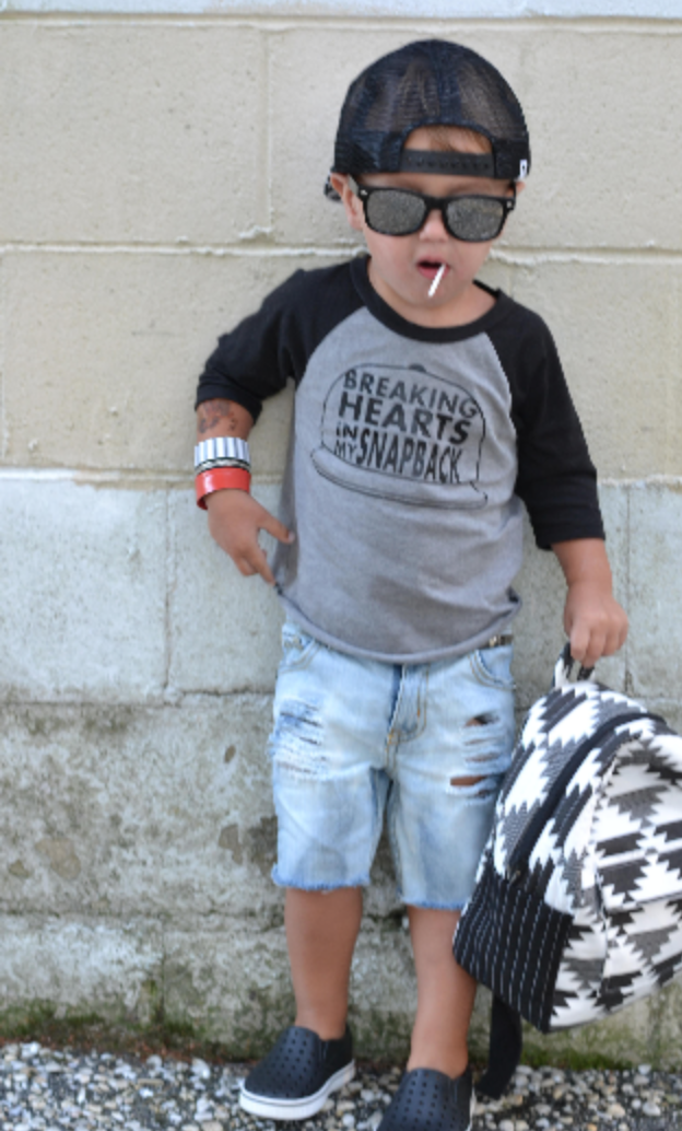 18b2456134d0e Breaking hearts in my snapback raglan - cute baby boy clothes