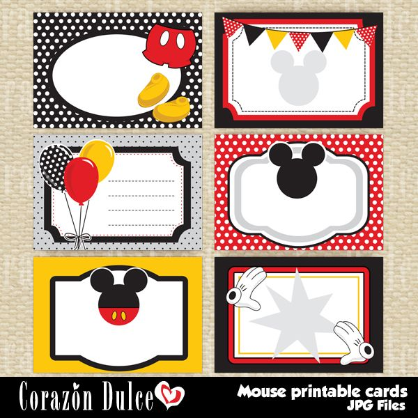 image about Mickey Mouse Printable Template named Mouse printable playing cards - Tags Labels - Printable Templates