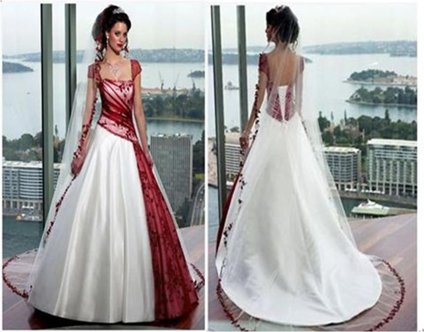 Bridal gowns with color ~ red and white wedding dress with cap sleeves.  This one has a front and back view a54fce4f5396
