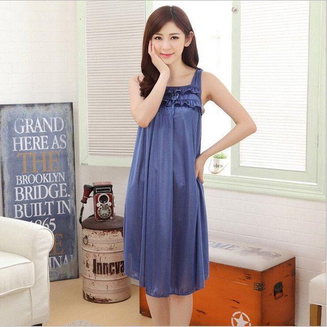 Summer Sexy Long Silk Nightgowns Nightdress For Women Casual Ladies Straps Sleeping Dress Nightie Homewear Vestidos Femininos