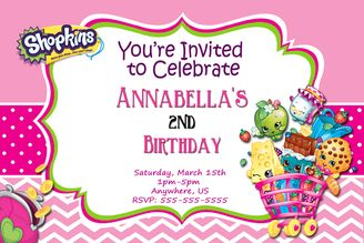 Shopkins Birthday Invitations Chevron