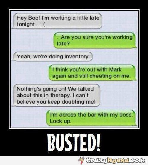 Humorous iPhone message where the boy is catching the girlfriend in the bar cheating with Mark. He went there with his boss