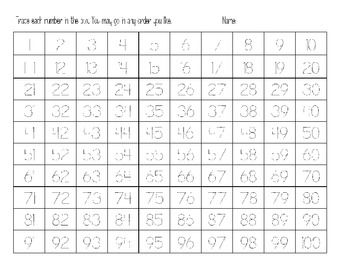 number tracing 0 0 trace numbers 1 100 on the back students fill ...