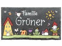 """Schiefer Türschild Namensschild """" Garten"""""""