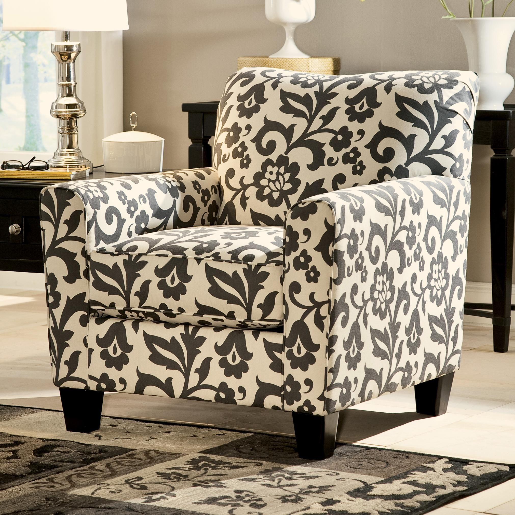 Levon Charcoal Accent Chair In Floral Print By Ashley Signature