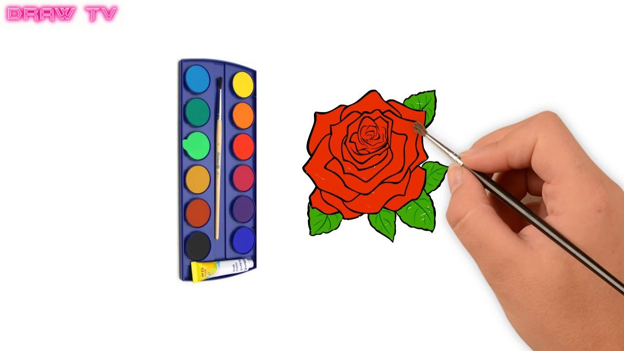 How to draw a ROSE | ROSE Coloring Pages | ROSE Painting | Learn ...