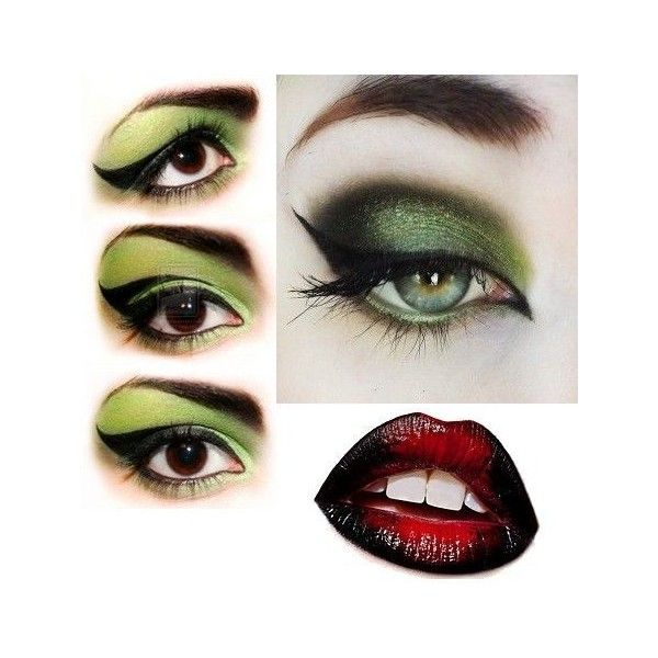 Witch make up green eyes and red black lips for Halloween ? liked on Polyvore featuring  sc 1 st  Pinterest & Witch make up green eyes and red black lips for Halloween ? liked ...