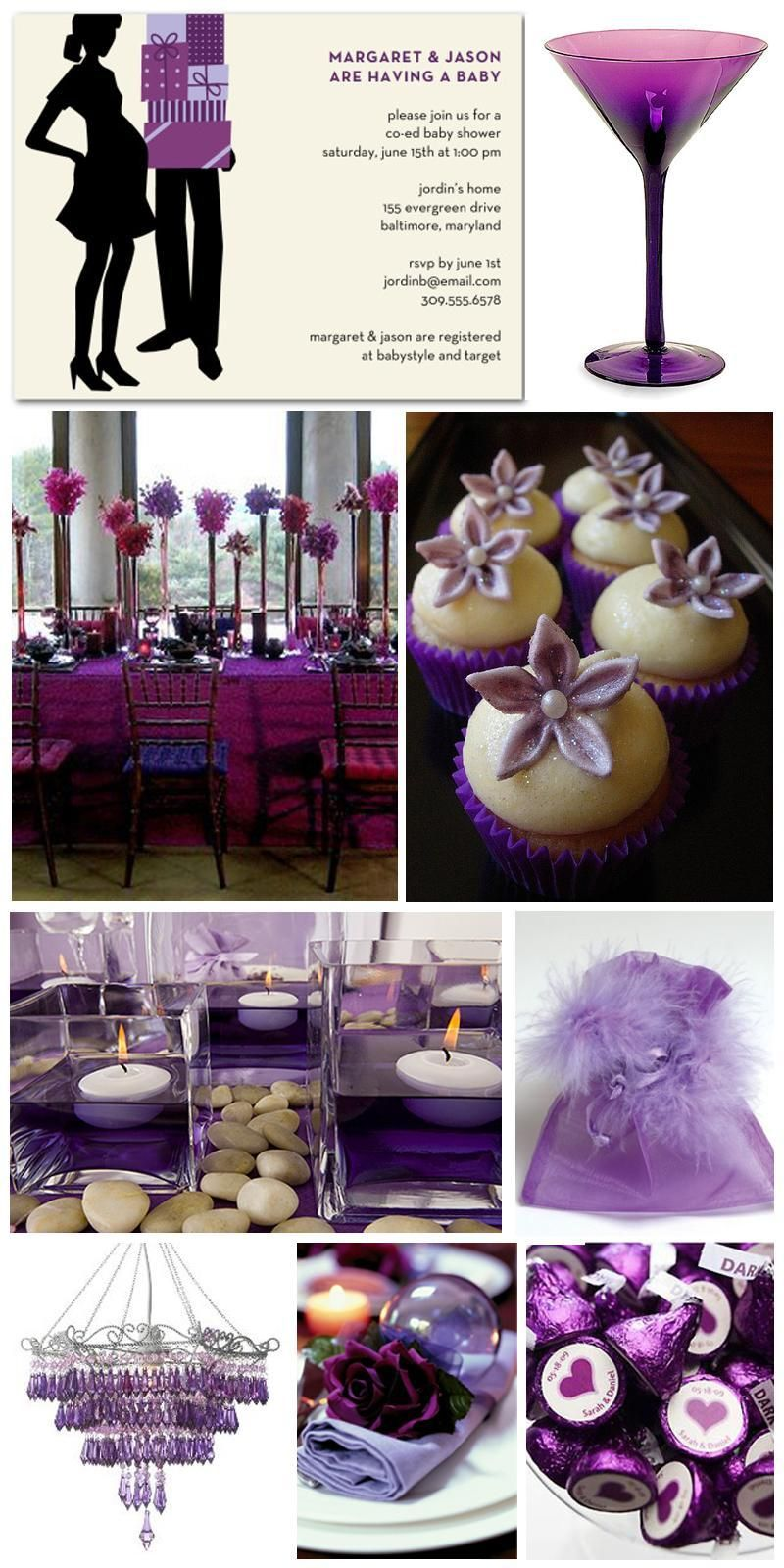 Inspiration Board Purple Themed Baby Shower Party Ideas