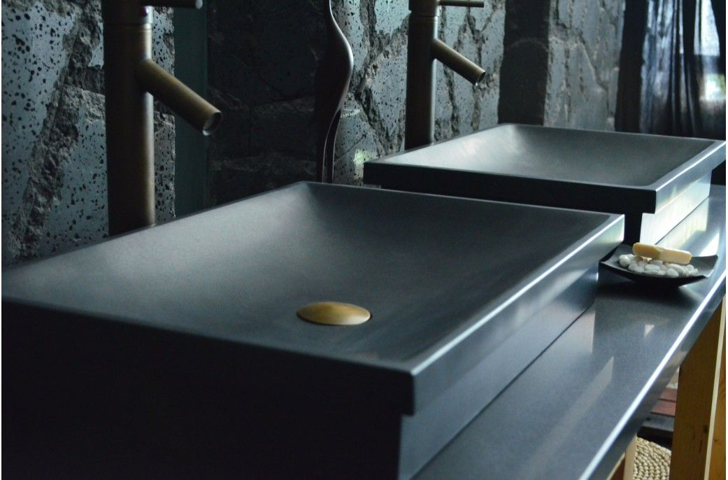 Vasque en pierre évier en pierre noire DUNE SHADOW granit Noir