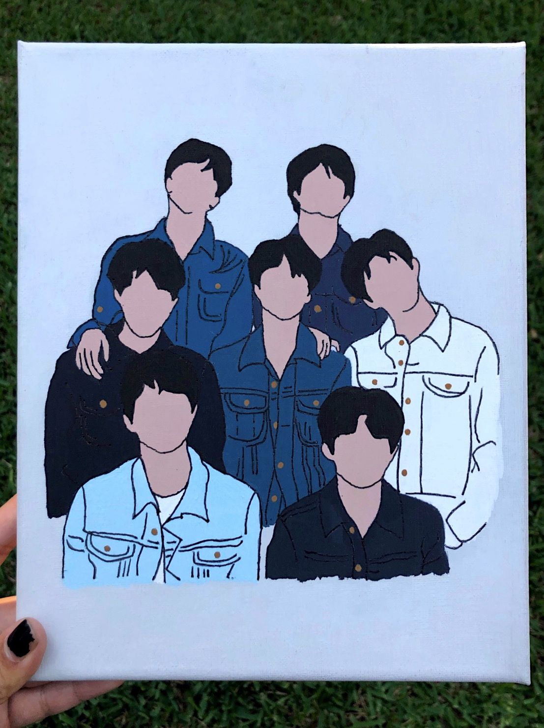 Bts jean jacket silhouette painting in 2020 cute canvas